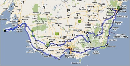 Map of the motorcycle route around Australia