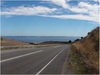 Road to Cape Jervis with Kangaroo Island in the background